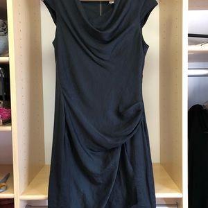 Helmut Lang NWT black draped asymmetric dress sz 4